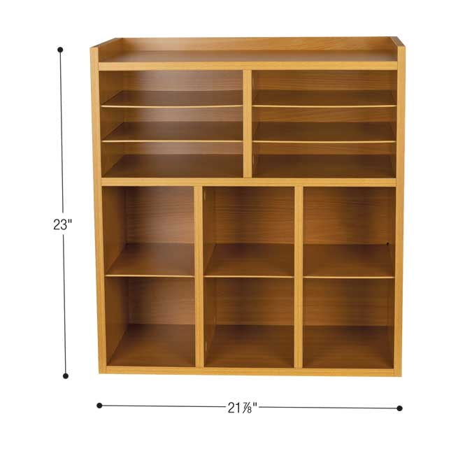 Oak 6 Slot Mail And Supplies Center With 6 Trays 6 Cubbies And 6 Bins Single Color   Red