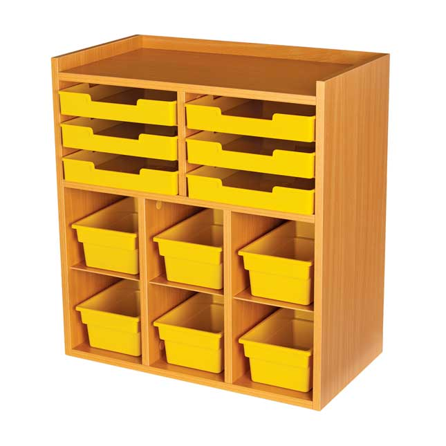 Oak 6 Slot Mail And Supplies Center With 6 Trays 6 Cubbies And 6 Bins Single Color   Yellow