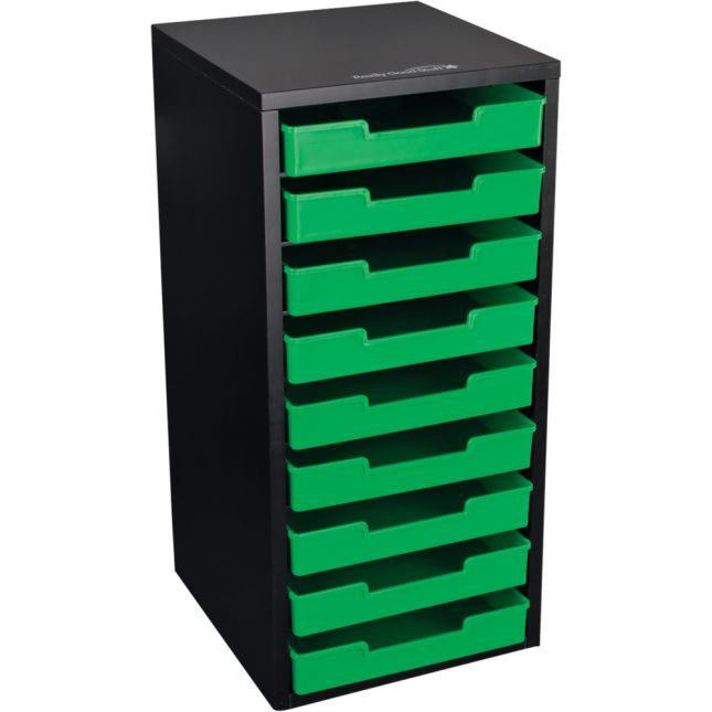 Black 9 Slot Mail Center With Trays Single Color   Green