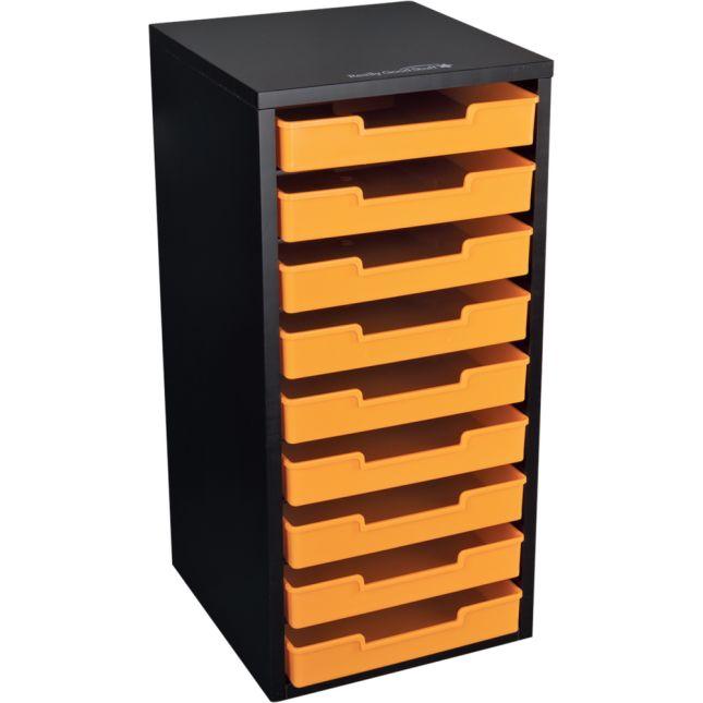 Black 9 Slot Mail Center With Trays Single Color   Orange