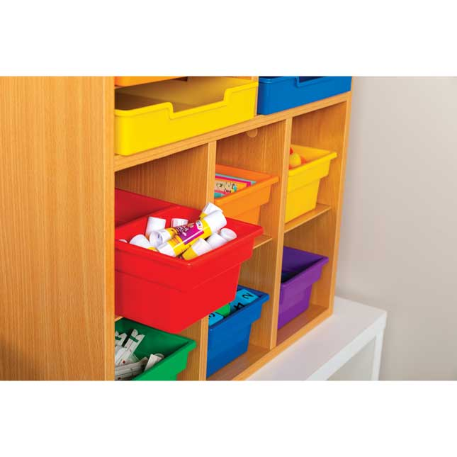 Oak 6 Slot Mail Center With 6 Trays 6 Cubbies And 6 2 Compartment Bins   Grouping