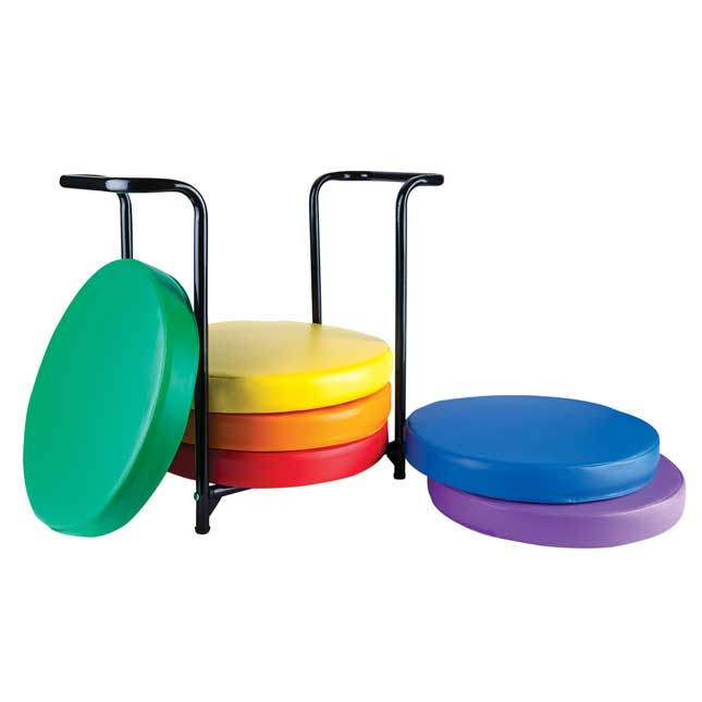 Floor Seating Storage Rack with Round Cushions - 6 Colors