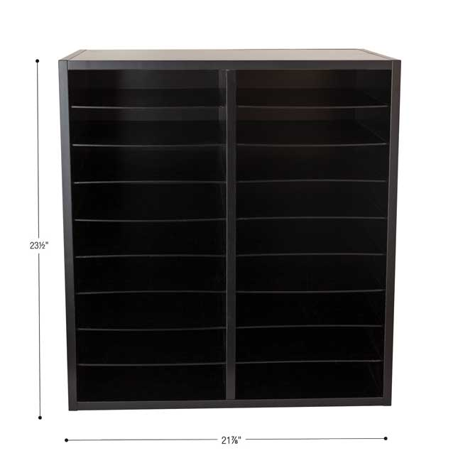 Black 18-Slot Mail Center With Trays Single Color