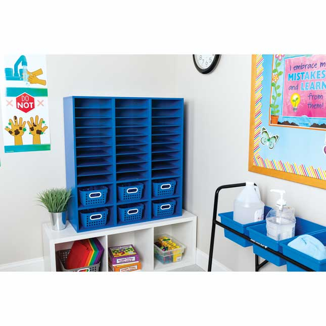 Blue 27 Slot Mail And Supplies Center With 6 Cubbies And Baskets Single Color   Blue