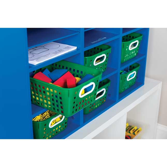 Blue 27 Slot Mail And Supplies Center With 6 Cubbies And Baskets Single Color   Green
