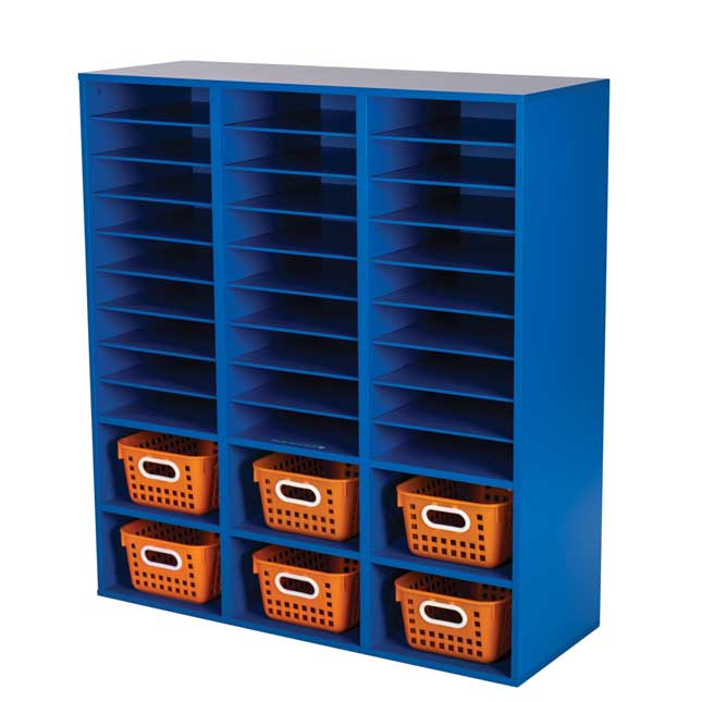 Blue 27 Slot Mail And Supplies Center With 6 Cubbies And Baskets Single Color   Orange