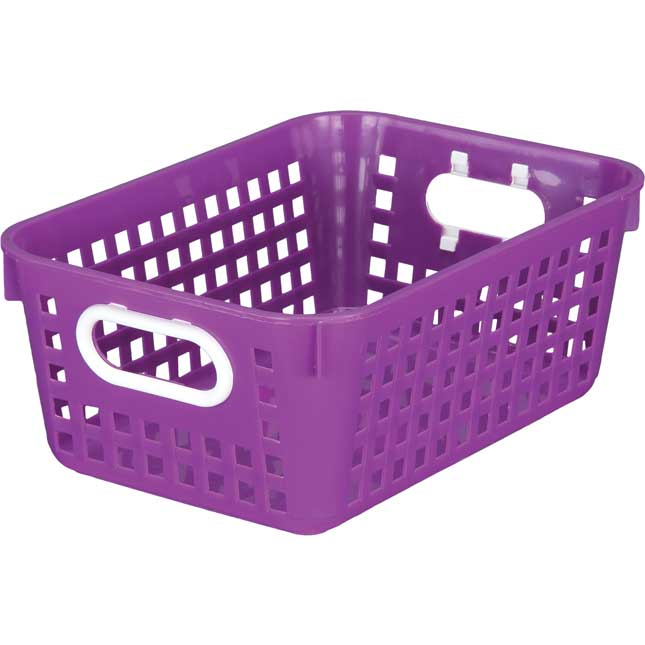 Blue 27 Slot Mail And Supplies Center With 6 Cubbies And Baskets Single Color   Purple