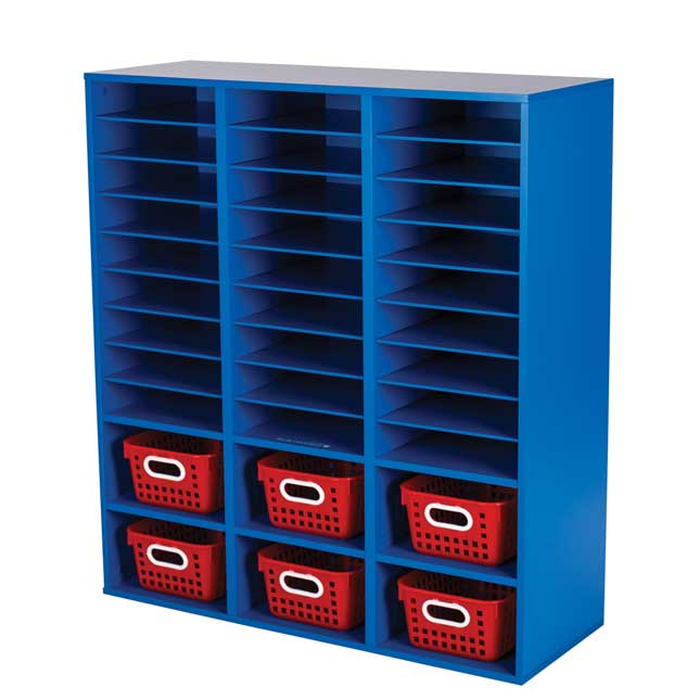 Blue 27 Slot Mail And Supplies Center With 6 Cubbies And Baskets Single Color   Red