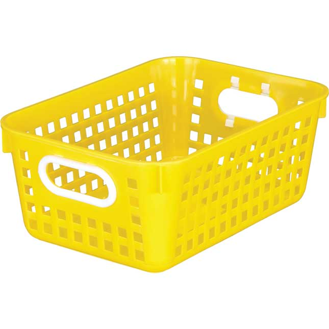 Blue 27 Slot Mail And Supplies Center With 6 Cubbies And Baskets Single Color   Yellow