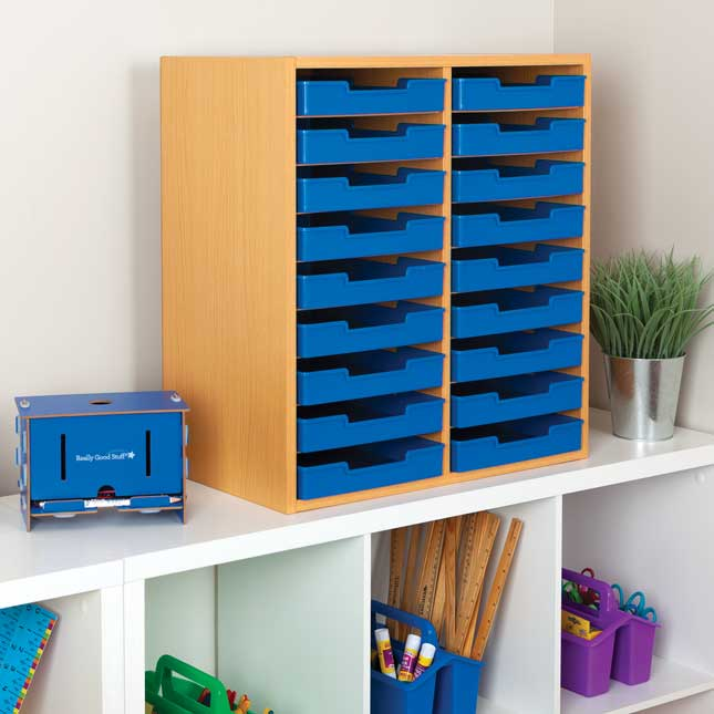 Oak 18-Slot Mail Center With Trays - Single Colors - Blue