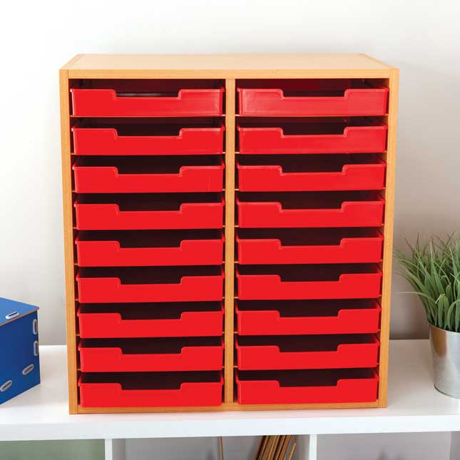 Oak 18-Slot Mail Center With Trays - Single Colors