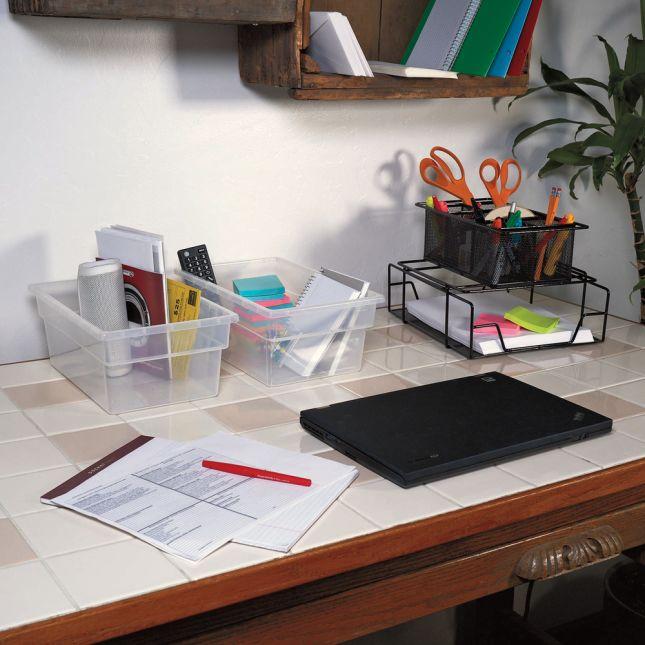 Single Color Multi Use Storage Bins Set Of 6   Clear