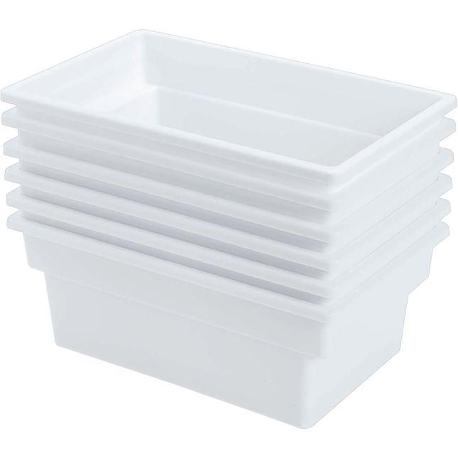 Single Color Multi Use Storage Bins Set Of 6   White
