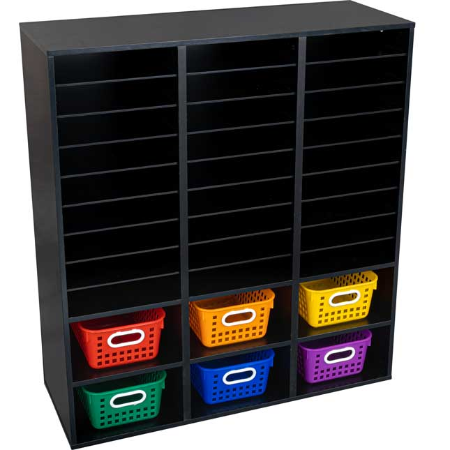 Black 27 Slot Mail And Supplies Center With 6 Cubbies And Baskets 6 Colors