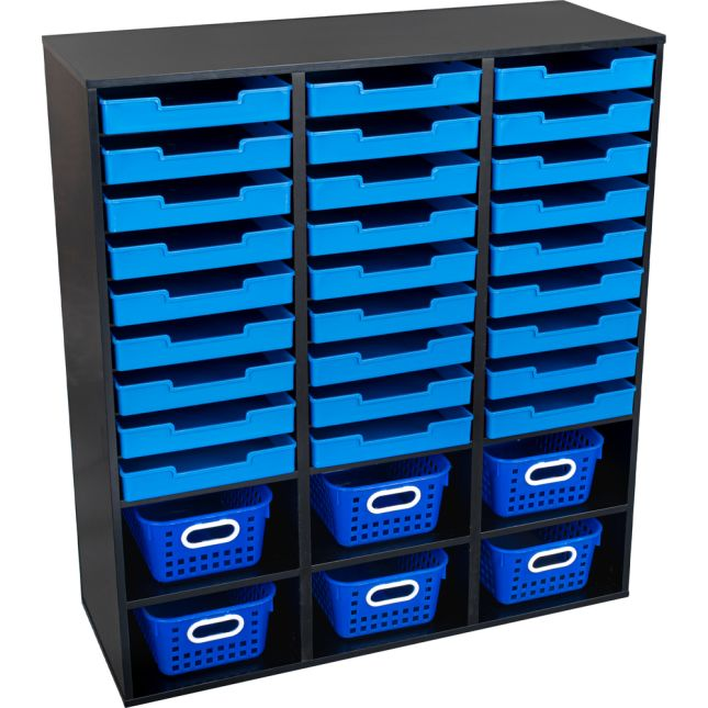Black 27-Slot Mail And Supplies Center With 27 Trays, 6 Cubbies, And Baskets  Single Color - 1 mail center, 27 trays, 6 baskets