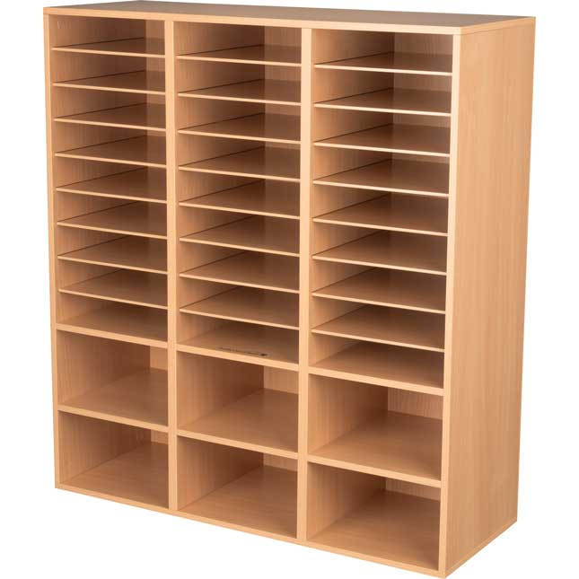 Oak 27 Slot Mail And Supplies Center With 6 Cubbies And Baskets 6 Colors