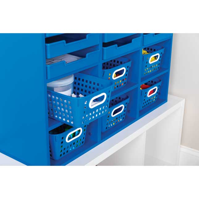 Blue 27-Slot Mail And Supplies Center With 27 Trays, 6 Cubbies, And Baskets  Single Color - 1 mail center, 27 trays, 6 baskets