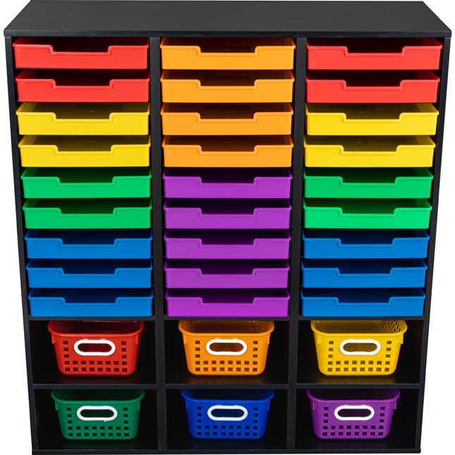 Black 27 Slot Mail And Supplies Center With 27 Trays 6 Cubbies And Baskets Grouping