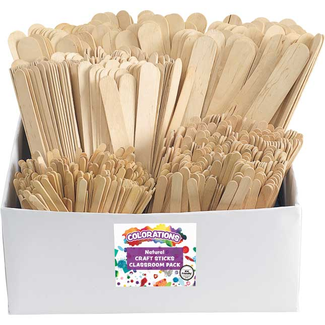 Colorations Natural Craft Stick Classroom Pack 1,200 Pieces