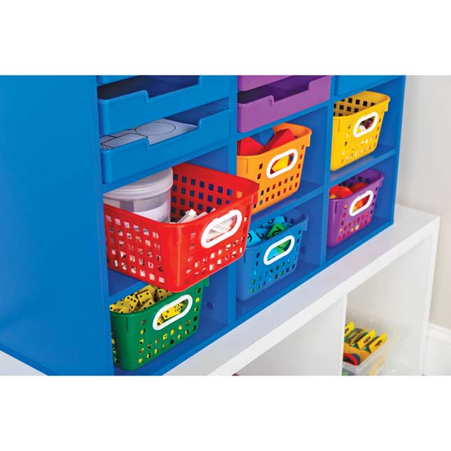 Blue 27-Slot Mail And Supplies Center With 27 Trays, 6 Cubbies, And Baskets  Grouping - 1 mail center, 27 trays, 6 baskets