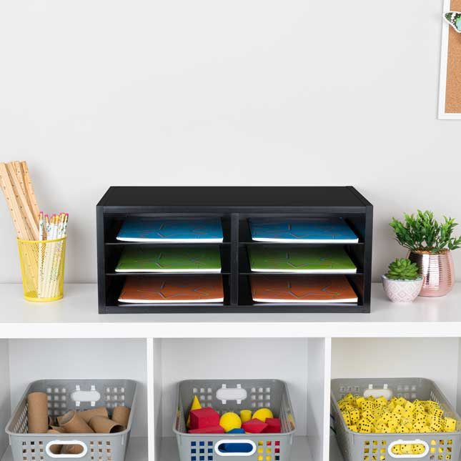 Black 6-Slot Mail Center With Trays  6 Colors - 1 mail center, 6 trays, 6 labels