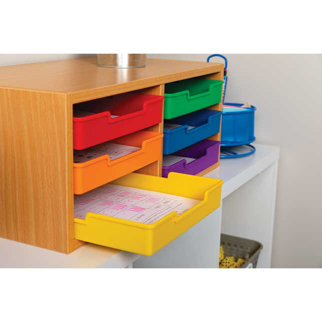 Oak 6-Slot Mail Center With Trays  6 Colors - 1 mail center, 6 trays
