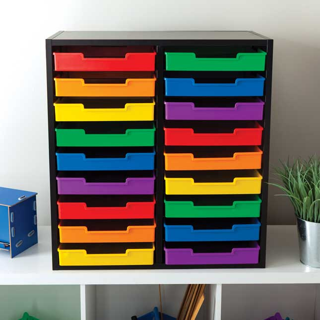 Black 18 Slot Mail Center With Trays 6 Colors