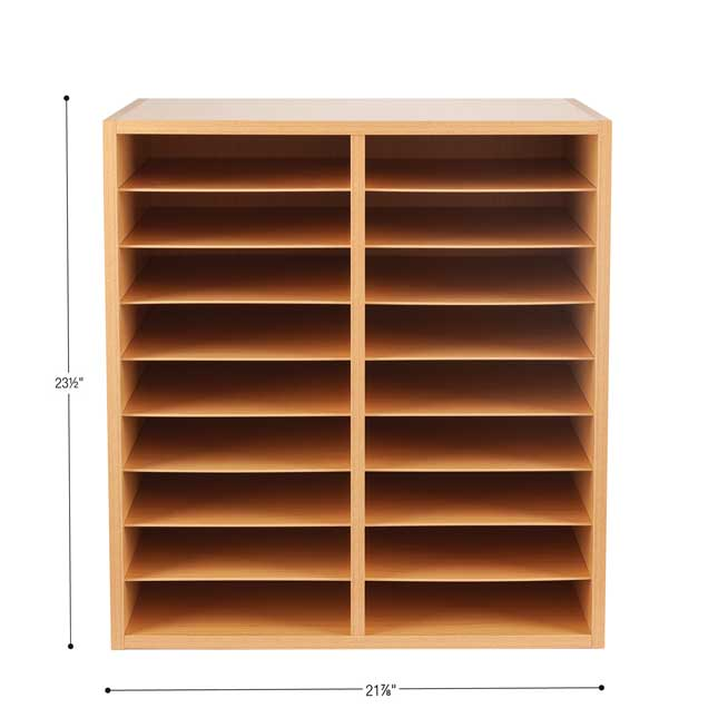 Oak 18-Slot Mail Center With Trays - 6 Colors