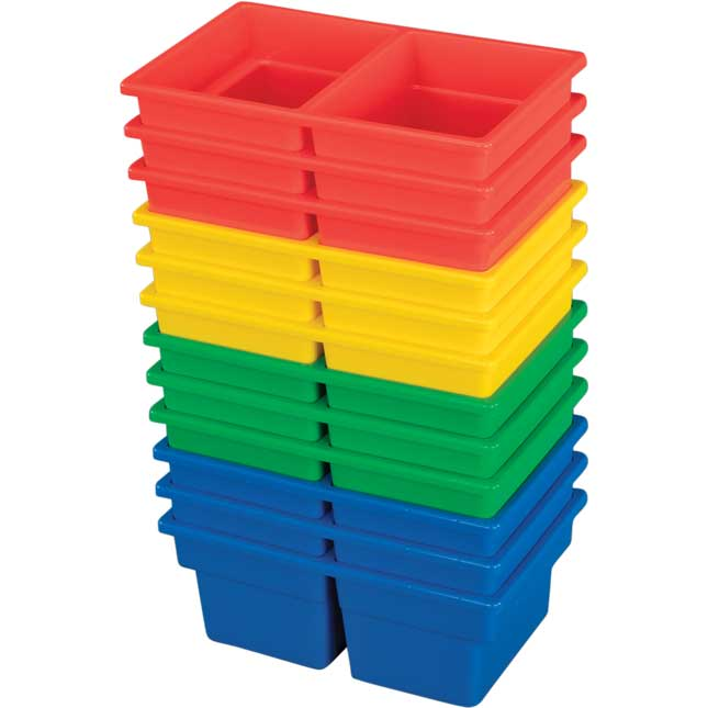 Small Two-Compartment All-Purpose Bin - 4 Colors - Set of 12