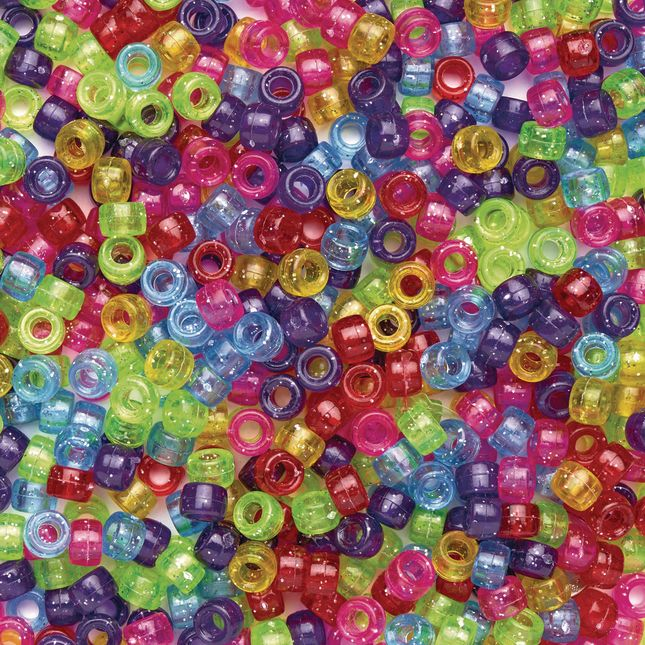 Colorations® Glitter Pony Beads - 1 lb._0