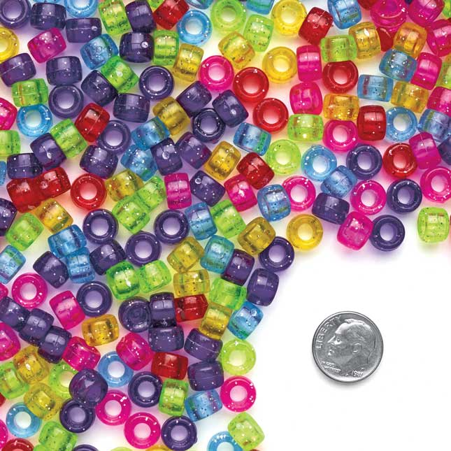 Colorations® Glitter Pony Beads - 1 lb._3
