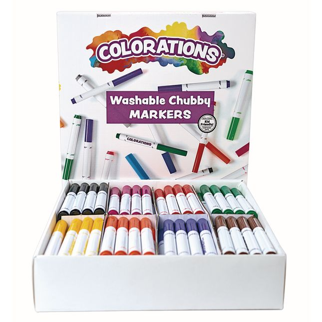 Colorations Washable Chubby Markers Classroom Pack Set of 128