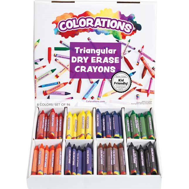 Colorations Non Roll Dry Erase Crayon Classroom Pack Set of 96