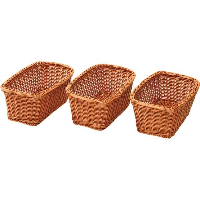 Wicker Look Plastic Trays Set of 3