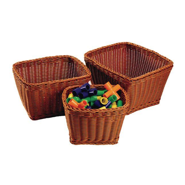 Wicker Look Baskets Rectangle Set of 3