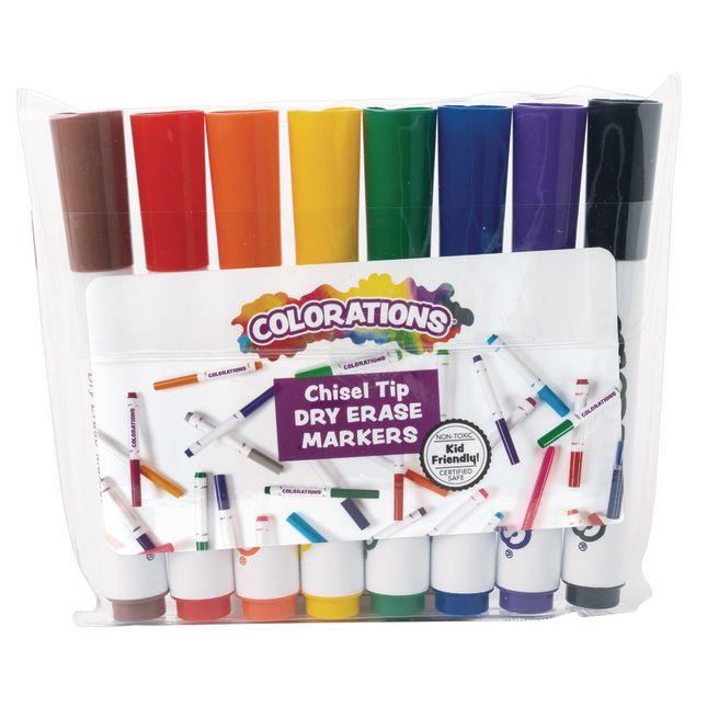Colorations Dry Erase Chisel Tip Markers Set of 8