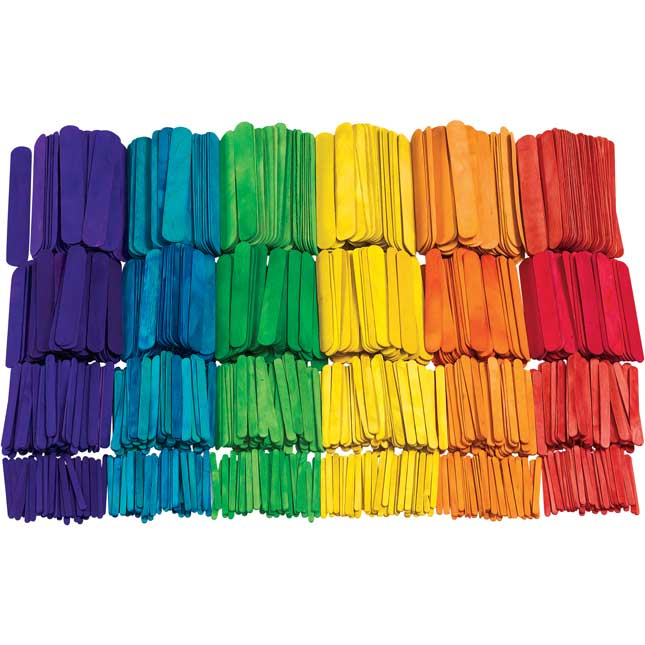 Colorations Colored Craft Sticks Classroom Pack 1200 Pieces