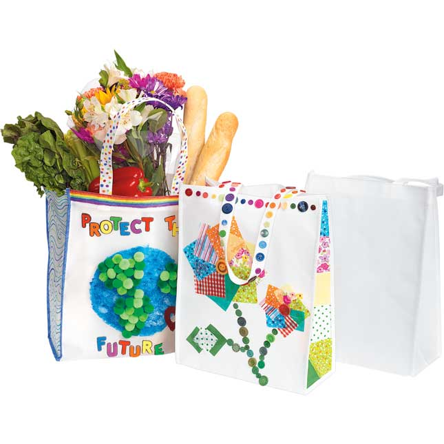 Colorations Decorate Your Own Shopping Tote Set of 12