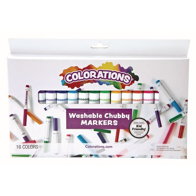Colorations Washable Chubby Markers Set of 16_0