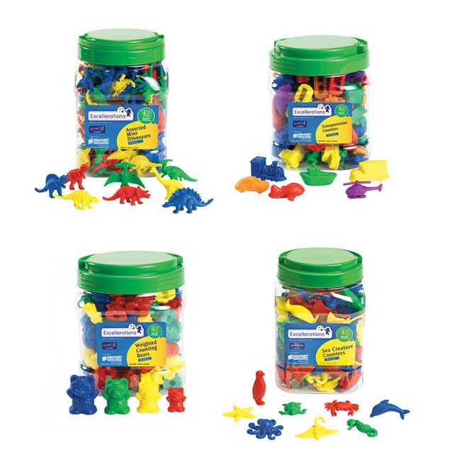 Excellerations Math Manipulatives   4 Different Sets 424 Pieces Total