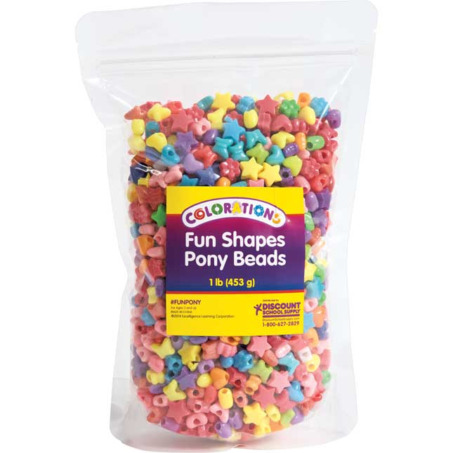 Colorations® Fun Shapes Pony Beads 1 lb._0