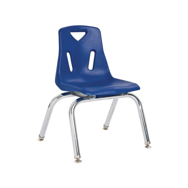 """10"""" Stacking Chairs with Chrome Legs, Blue - Set of 6"""