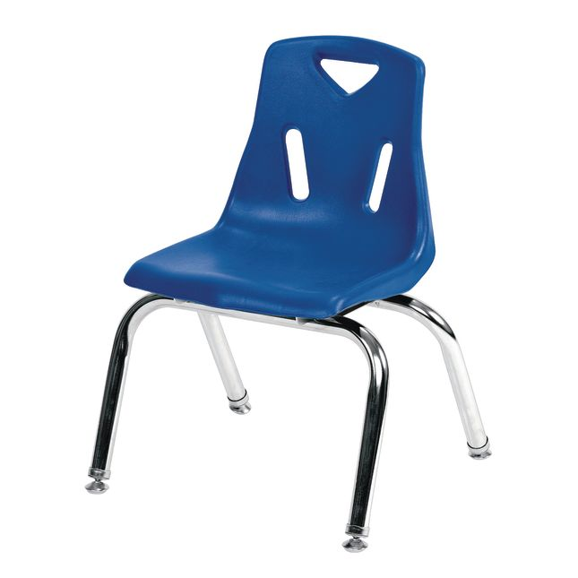 14  Stacking Chairs with Chrome Legs Blue   Set of 6