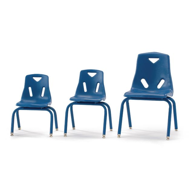 "14"" Stacking Chairs with Matching Legs Blue  Set of 6"