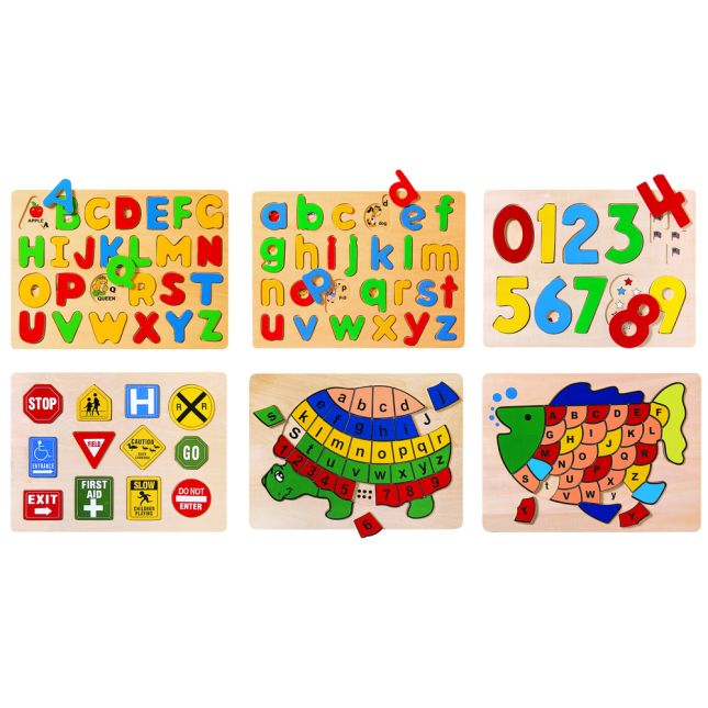 Preschool Puzzles Letters Numbers and Signs Set of 6