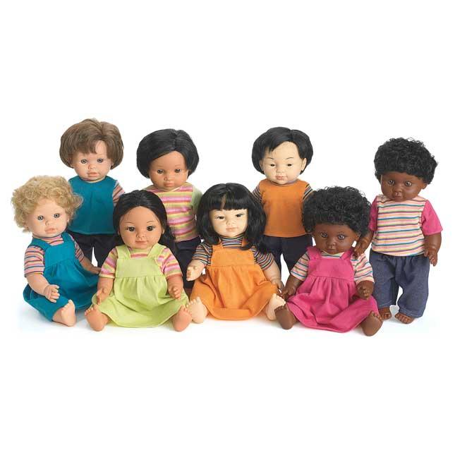 "16"" Multicultural Toddler Dolls - Set Of All 8"