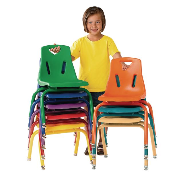 """16"""" Stacking Chairs with Matching Legs, Blue - Set of 6"""