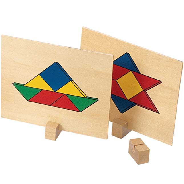 Excellerations Wooden Pattern Blocks and Board Set 69 Pieces
