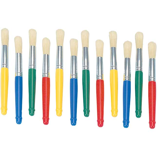 Colorations Plastic Handle Jumbo Chubby Paint Brushes Set of 12_0