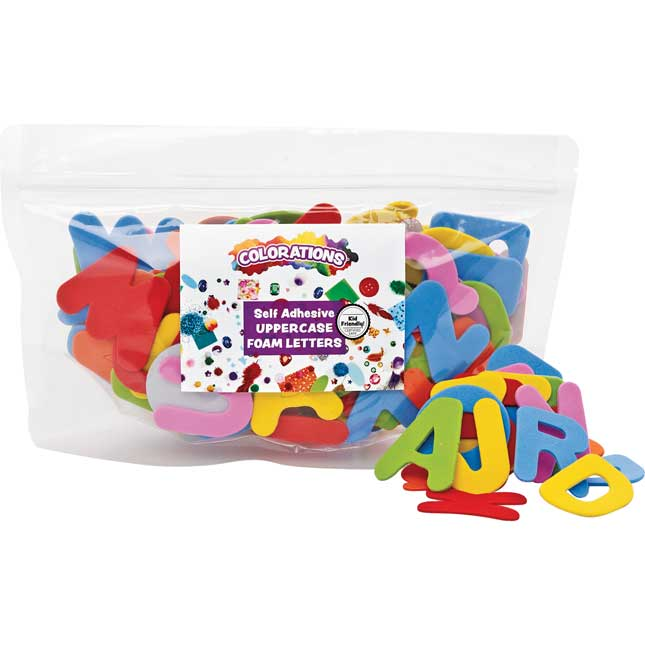 Colorations Self Adhesive Uppercase Foam Shapes 150 Pieces